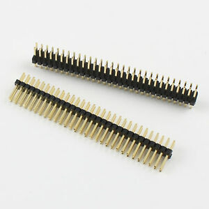 200pcs Gold Plated 1 27mm Male 2x30 Pin Double Row Straight Pin Header Strip