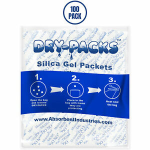 Silica Gel Packets Cotton Desiccant Moisture Humidity Ammo Guns 1 2 Gram 100pk