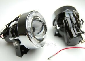 Universal White Car Angel Eye Projector Fog Light Lens Kit Halo Led Lamp Metal