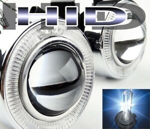 White Angel Eyes Halo Projector Bumper Clear Fog Lights Lamp W H11 8000k Hid