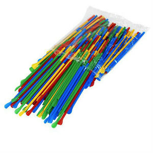 Snow Cone Spoon Straws 200 Count Unwrapped Colors