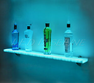 44 Led Lighted Wall Mounted Floating Shelf Liquor Bottle Glass Bar Display