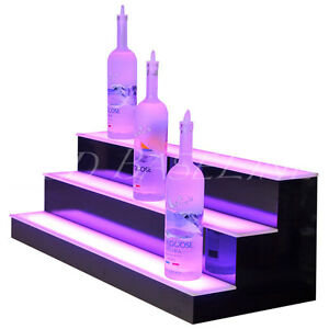 32 Led Lighted 3 Tier step Back Bar Liquor Bottle Shelf Black bars home display