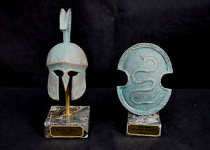 Ancient Greek Carved Helmet And Snake Carved Shield Marble Based Clr Cpr Green