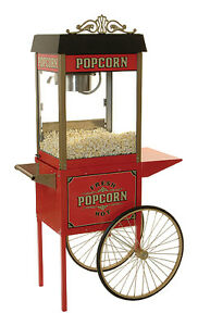 Popcorn Machine 8 Oz Street Vendor Style With Antique Trolley Cart
