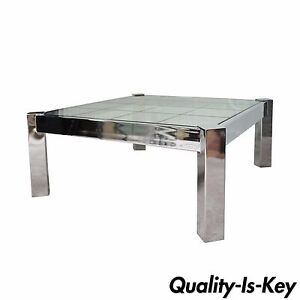 Vintage Mid Century Modern Chrome Etched Glass Square Coffee Table Pace Baughman