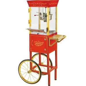 Vintage 53 Popcorn Machine Cart Stand Red Theater Concession Pop Corn Maker