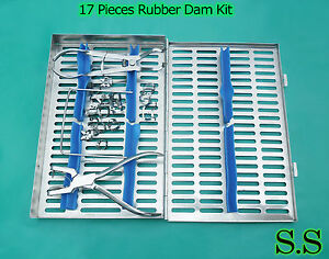 Rubber Dam 17 Piece Set Up clamps punch forceps frame case Dn 546