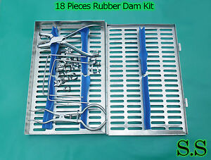 Rubber Dam 18 Piece Set Up clamps punch forceps frame case Dn 547