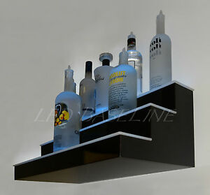 24 Led Bottle Rack Bar Shelf 3 Step Wall mount Home Bar Liquor Display Rack