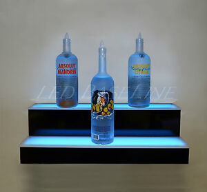 32 Color Changing Led Liquor Display 2 Step Wall mount Home Bar Bottle Rack