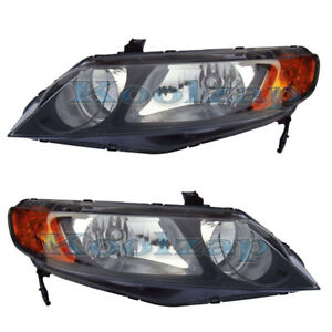 06 08 Civic Sedan Headlight Headlamp Head Light Lamp Left Right Side Set Pair