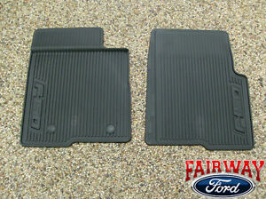 10 Thru 14 Ford F 150 Oem Black Rubber All Weather Floor Mat Set 2 pc New