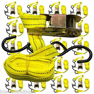 Ratchet Tie Down Cargo Straps 1 Inch X 13 Ft With S Hooks 20 Lot Pack