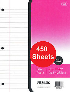 450 Sheets Hole Punched Filler Paper College Ruled 10 5 X 8 26 7cm X 20 3cm