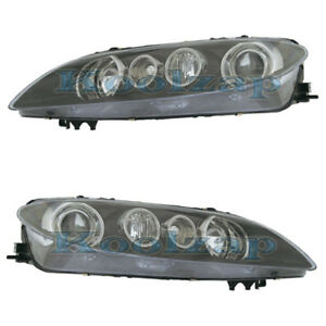 06 08 Mazda 6 Sport Headlight Headlamp Black Head Light Left Right Side Set Pair
