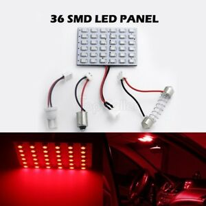 2x Red Led Dome Map Interior Light Bulb Smd 36 Led Panel Xenon Hid Lamp