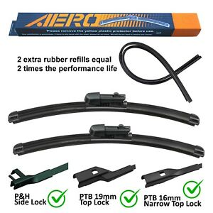 Aero Volkswagen Vw Cc Eos Golf Jetta Gti Windshield Wiper Blades Set Of 2