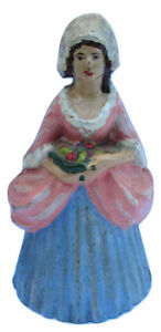 Antique Cast Iron House Maid Doorstop Young Girl Holding Fruit