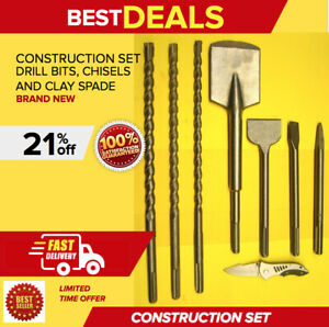 Heavy Duty Construction Set drill Bits Chisels A Clay Spade Brand New