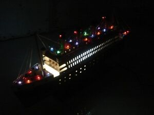 Titanic Wooden Model Cruise Ship W Flashing Lights 24 Fully Assembly