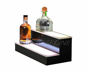 21 2 Tier Step Led Lighted Back Bar Liquor Bottle Shelf Glowing Display Stand