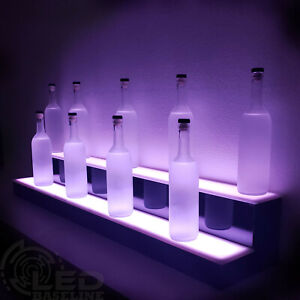 35 2 Tier Led Lighted Back Home Bar Liquor Bottle Glowing Shelf Display Stand