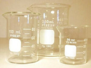 Corning Pyrex 3 Piece Glass Graduated Low Form Griffin Beaker Set Chemistry Lab