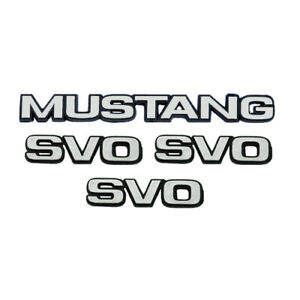 1984 1986 Ford Mustang Svo Fenders Trunk Chrome Emblems 4pc Set