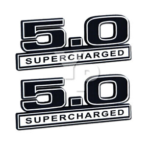 5 0 Liter Supercharged Emblems Badges Logos In Chrome Black 5 Long Pair