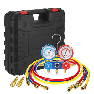 R410a Manifold Gauges Freon Refrigerant 5ft Hoses Hvac Halogen Diagnostic Tools