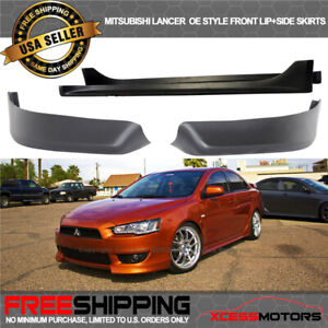 Fits 08 15 Mitsubishi Lancer Oe Style Front Bumper Lip Spoiler Side Skirts Pp