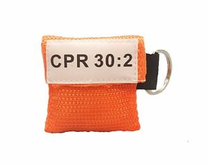 500 Orange Cpr Mask With Keychain Face Shield One Way Valve