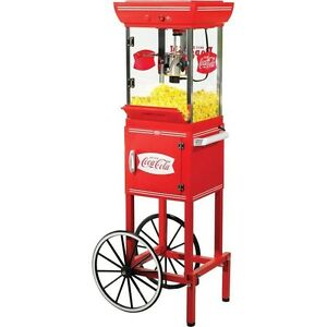 10 Cup Coca cola Popcorn Cart Machine Full size Coke Oil Pop Corn Kettle Stand