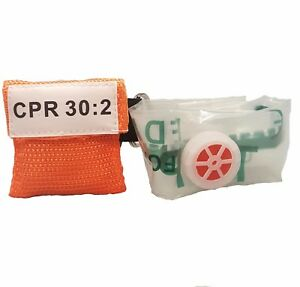 60 Orange Cpr Mask Face Shield With Pocket Keychain
