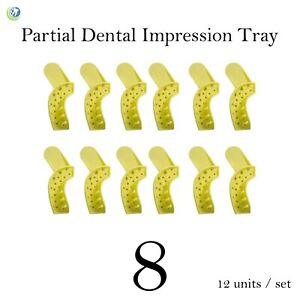 Dental Disposable Impression Trays Perforated Autoclavable Partial 8 12 set