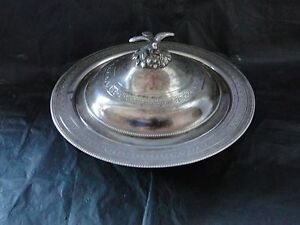 Covered Sweet Dish Sterling Silver Egyptian With Bird Finial Engraved C 1900