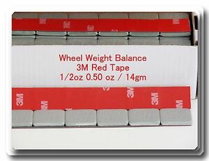 90 Pcs Stick On Self Adhesive Wheel Weights 1 2 0 50 Oz Total 45 Oz Red 3m Tape