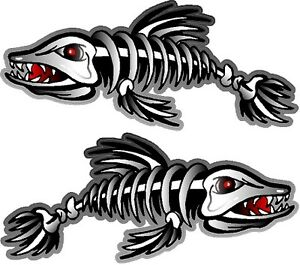 2 27 X 62 Skeleton Fish Decals Stickers Boat Graphics Ice Fishing Trailer