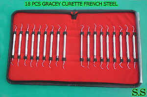 18 Pcs Gracey Curettes Kit French Steel Surgical Dental Instruments