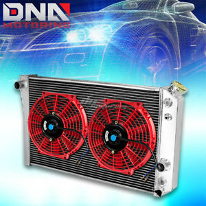 Tri Core Full Aluminum Radiator 2x 10 Red Fan 82 02 Chevy S10 Blazer Corvette V8