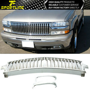 Fit 99 02 Chevy Silverado 00 06 Tahoe Suburan Vertical Chrome Front Grill Grille