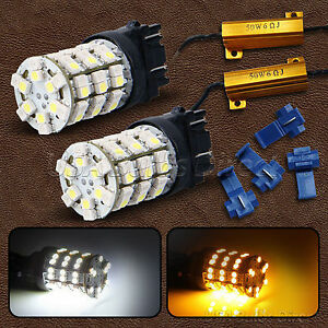 3157 Dual Chip Color Switchback White amber Led Turn Signal Bulbs Resistor 2l