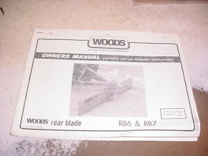 Woods Rb6 Rb7 Rear Blade Owners Manual Parts List Dirt Snow Grader 3 point