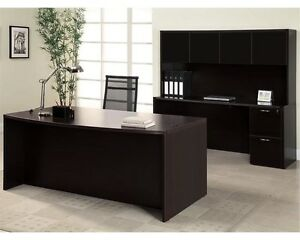 Amber Bowfront Executive Office Desk With File file Kneespace Credenza And Hutch