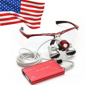 Usa Dentist Led Headlight Lamp Dental Surgical Medical Binocular Loupes Red New
