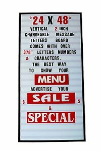 24 x 48 New Vertical Changeable Letters Message Marquee Sign W 2 Letters Set
