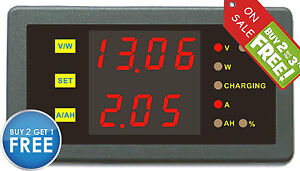 New Dc 0 120v 0 200a Volt Amp Capacity Power Watt Meter Battery State Of Charge