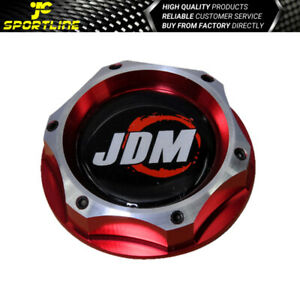 Fits Honda Acura Power Red Chrome 2 Tone Jdm Japan Billet Engine Oil Filler Cap