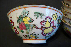 Old Chinese Porcelain Soup Bowl Enamel Hand Painted Multicolor